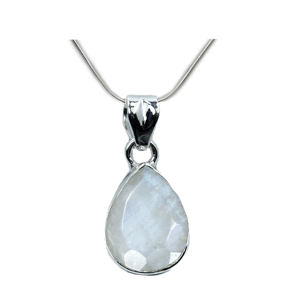 Shimmering Moonstone & 925 Sterling Silver Pendant Necklace - The Silver Plaza