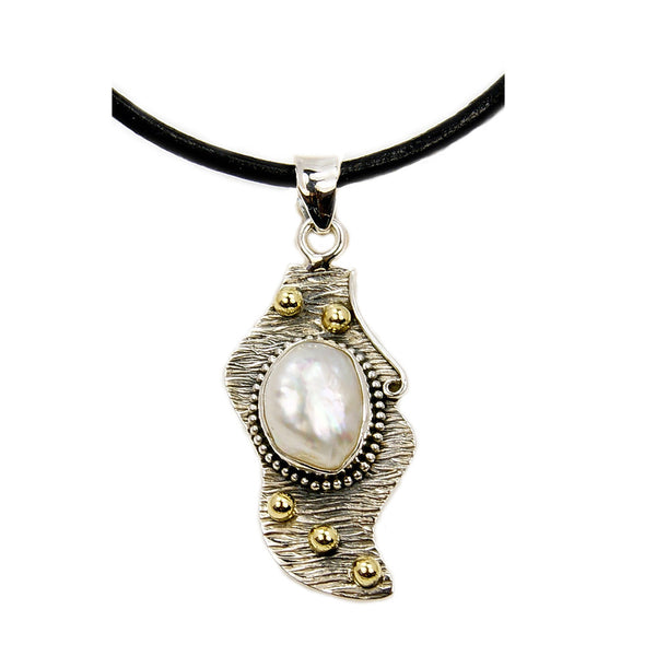 'White Radiance' Blister Pearl & .925 Sterling Silver Pendant Leather Cord Necklace - The Silver Plaza