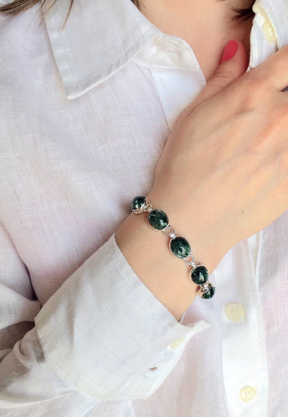 Russian Seraphinite & 925 Sterling Silver Bracelet - The Silver Plaza