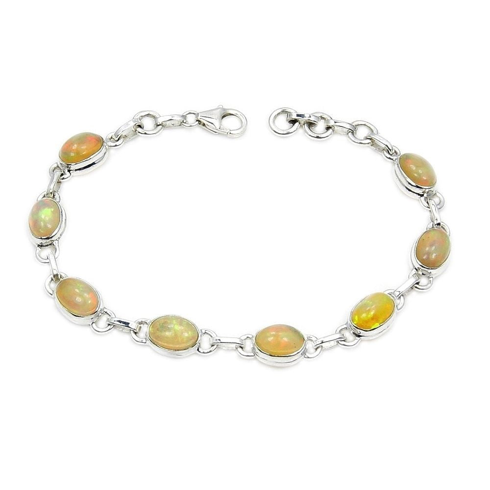 Sterling Silver Rare Natural Ethiopian Opal Bracelet - The Silver Plaza