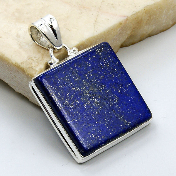 'Midnight Sky' Lapis Lazuli & .925 Sterling Silver Pendant - The Silver Plaza