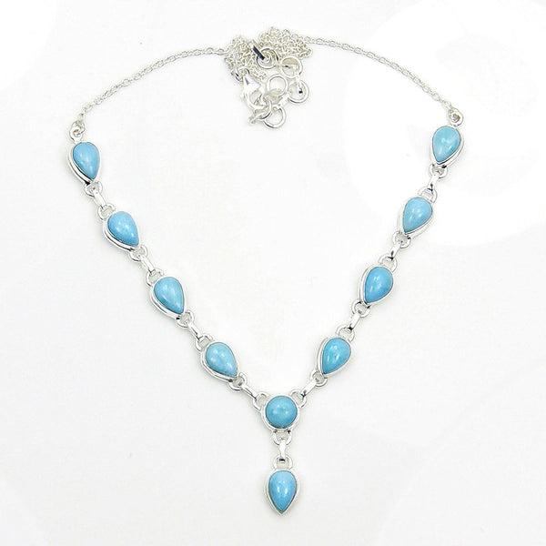 'Blue Fantasy' Sterling Silver Genuine Dominican Larimar Y-necklace - The Silver Plaza