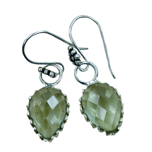 'Dancing Queen' Green Amethyst Sterling Silver Earrings - The Silver Plaza