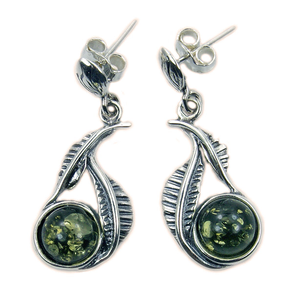 'Falling Leaves' Sterling Silver Natural Green Baltic Amber Dangle Earrings - The Silver Plaza