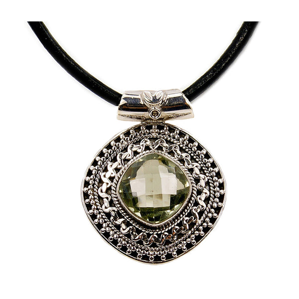 Leather & Sterling Silver Cord Green Amethyst Pendant Necklace - The Silver Plaza