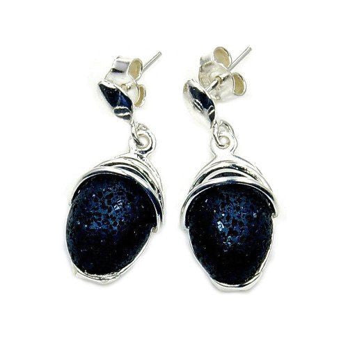 'Midnight Kiss' Volcanic Lava Rock & Sterling Silver Dangle Earrings - The Silver Plaza