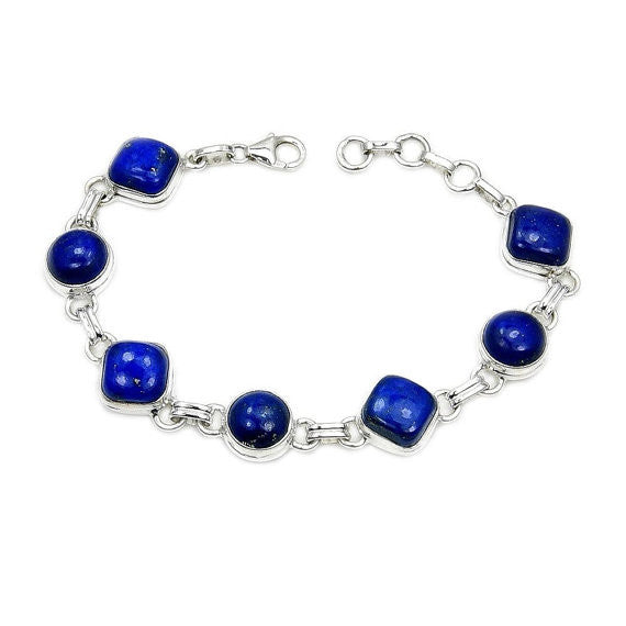 'Blue Heaven' Lapis Lazuli & .925 Sterling Silver Bracelet - The Silver Plaza