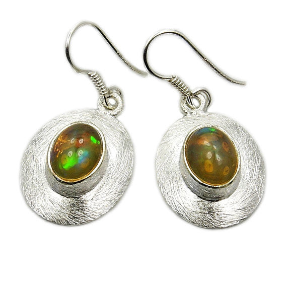 'Inner Fire' Ethiopian Opal & Sterling Silver Earrings - The Silver Plaza