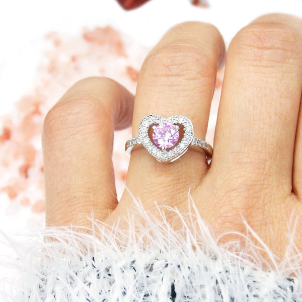 Sterling Silver Pink Cubic Zirconia Heart Ring, Size 5.75 - The Silver Plaza