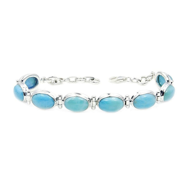 Natural Dominican Larimar & .925 Sterling Silver Bracelet AD877 Jewelry - The Silver Plaza
