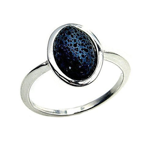 Volcanic Lava Rock & Sterling Silver Ring - The Silver Plaza