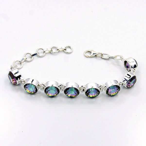 Incredible Mystic Topaz Sterling Silver Bracelet - The Silver Plaza