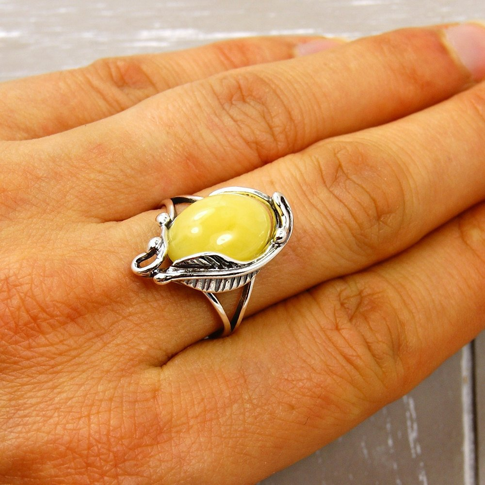 Sterling Silver Natural Butterscotch Amber Ring