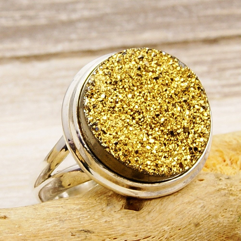 Blazing Sun Sterling Silver Golden Titanium Druzy Ring Size 5.25 - The Silver Plaza