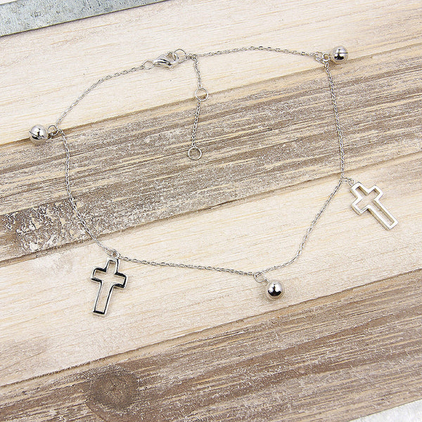 Crosses & Bells Sterling Silver Anklet - The Silver Plaza