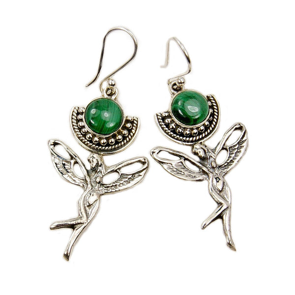 'Angelic' Malachite Sterling Silver Dangle Earrings - The Silver Plaza