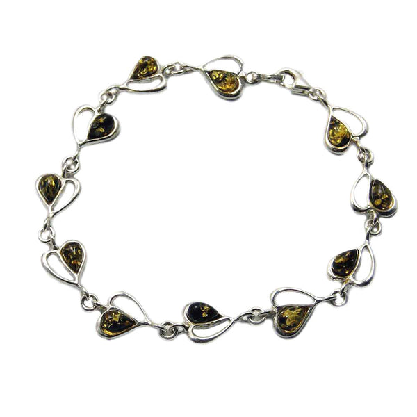 "'Desire of My Heart' Sterling Silver Green Baltic Amber Heart Bracelet, 7.75"" - The Silver Plaza"