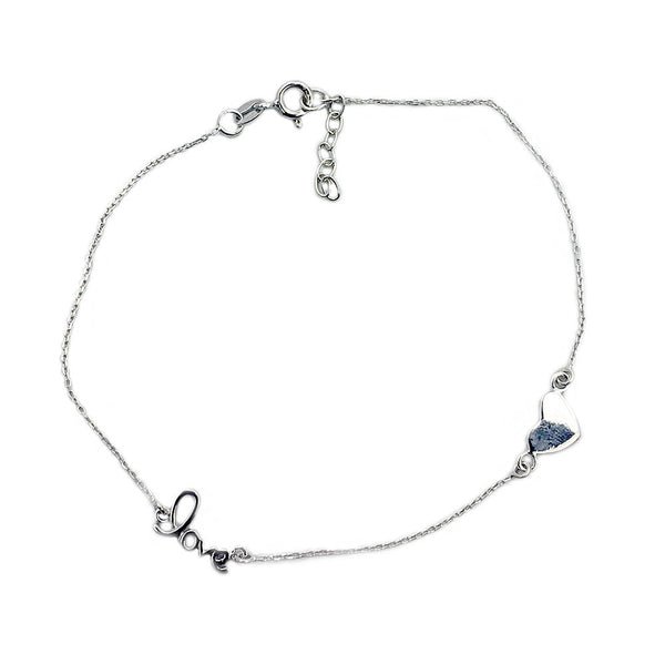 'Love In My Heart' Sterling Silver Adjustable Anklet - Minimalist Jewelry - The Silver Plaza