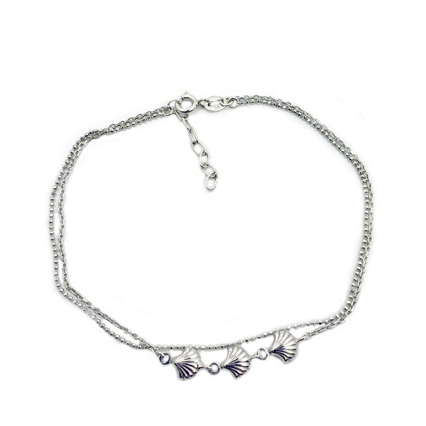 Seashell Double Layered Sterling Silver Anklet - The Silver Plaza