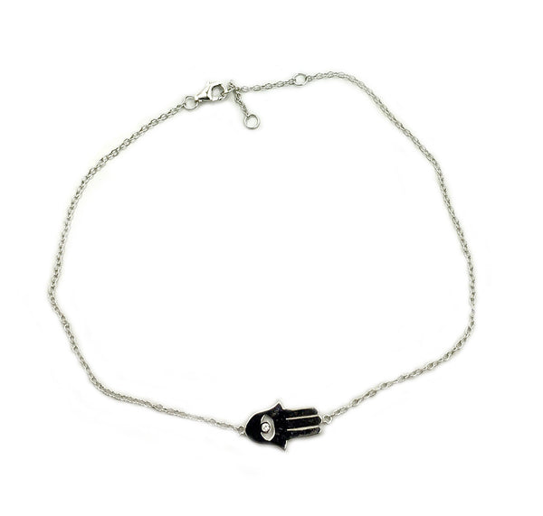 Sterling Silver Hamsa Hand Anklet Minimalist Dainty Anklet