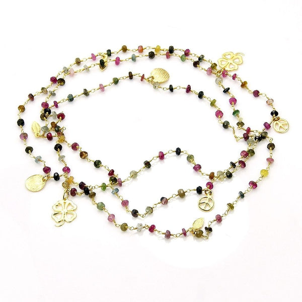"Tourmaline Strand Beaded Necklace, Hammered Four-leaf clovers; Gold over Sterling Silver; 43"" Long; AA886 - Emavera - 1"