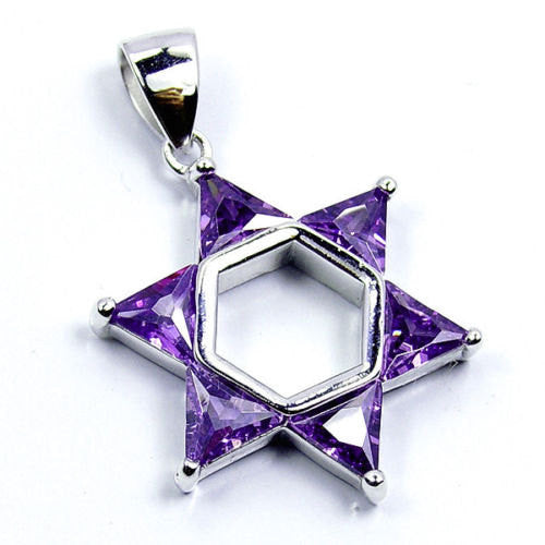 Jewish Star Of David Purple Cz & .925 Sterling Silver Pendant, T76 - The Silver Plaza
