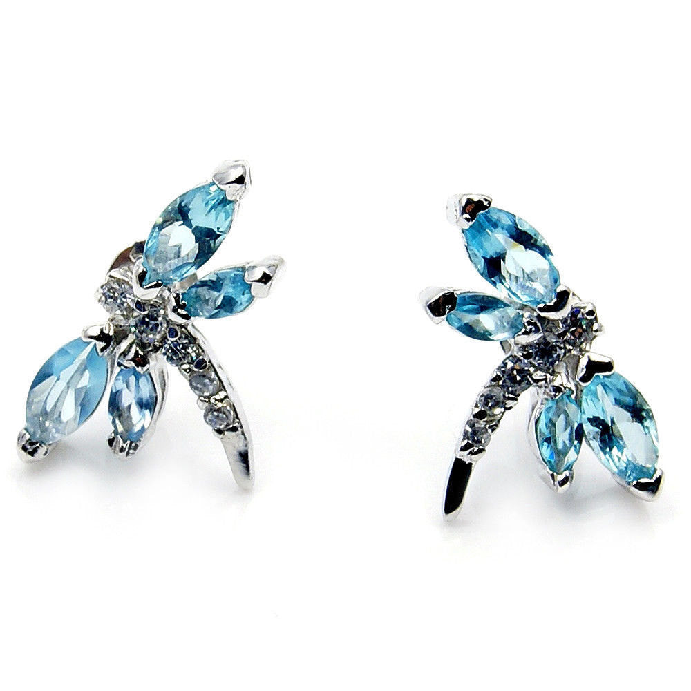 Light Blue Cubic Zirconia Jewelry & .925 Sterling Silver Dragonfly Earrings ; M185 - The Silver Plaza