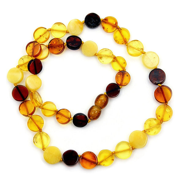 "Healing Natural Multicolor Baltic Amber Beaded Necklace 17"", Y843 - The Silver Plaza"