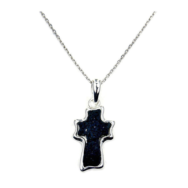 Volcanic Lava Rock Cross & .925 Sterling Silver Necklace, Ab772 - The Silver Plaza