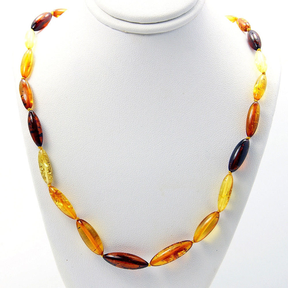 "Healing Natural Multicolor Baltic Amber Beaded Necklace 18.5"", Y979 - The Silver Plaza"