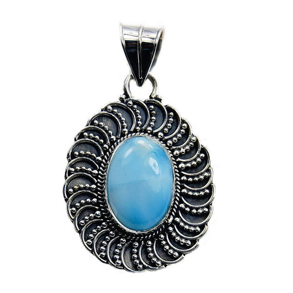 Rare Genuine Dominican Larimar & .925 Sterling Silver Pendant, Z11 - The Silver Plaza