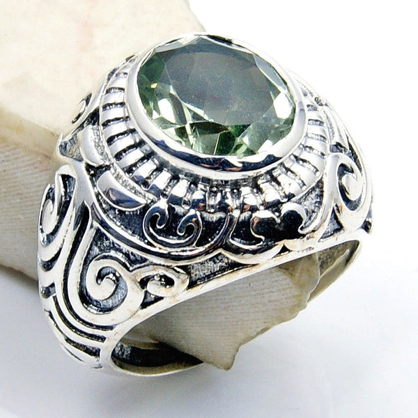 Extraordinary Green Amethyst Jewelry & .925 Sterling Silver Ring Size 7.5 , V595 - The Silver Plaza