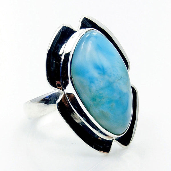 'Caribbean Sea' Larimar & Sterling Silver Ring Size 6.75 - The Silver Plaza