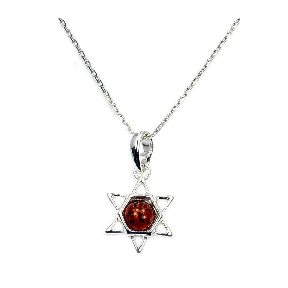 Baltic Amber Jewish Star Of David & .925 Sterling Silver Pendant Necklace Jewelry , Ab775 - The Silver Plaza