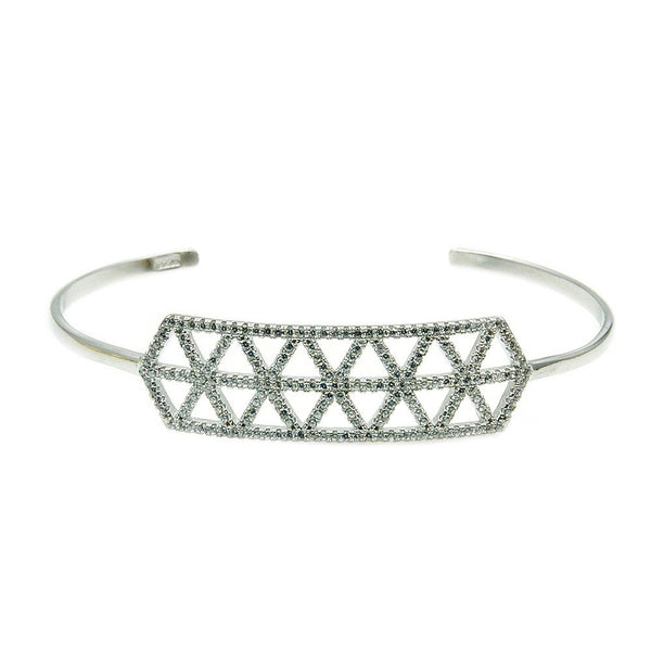 Cz & Sterling Silver Cuff Bracelet Ac979 Jewelry - The Silver Plaza