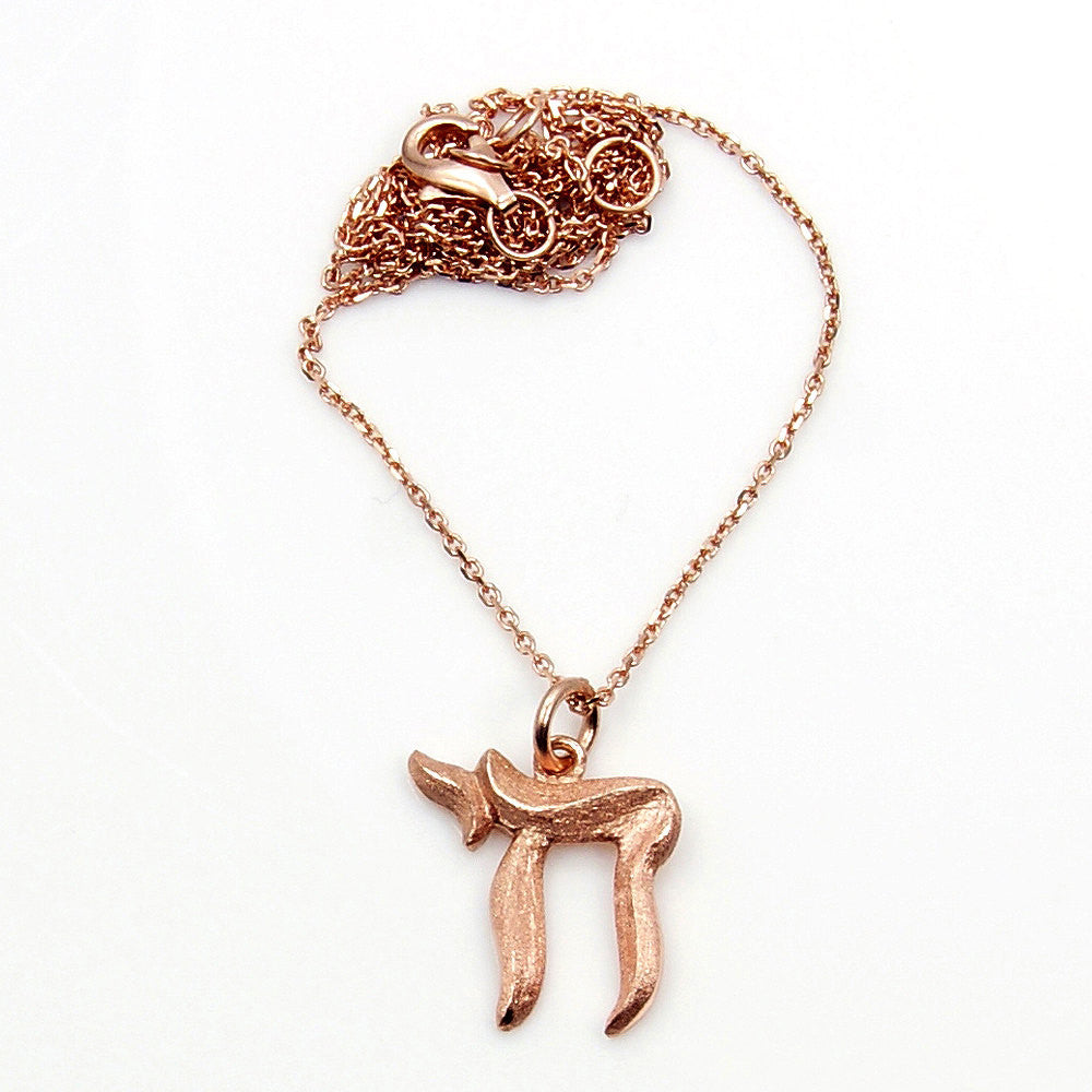 Chai (Life) Symbol Solid .925 Sterling Silver & Rose Gold Pendant Necklace , AD46 - The Silver Plaza