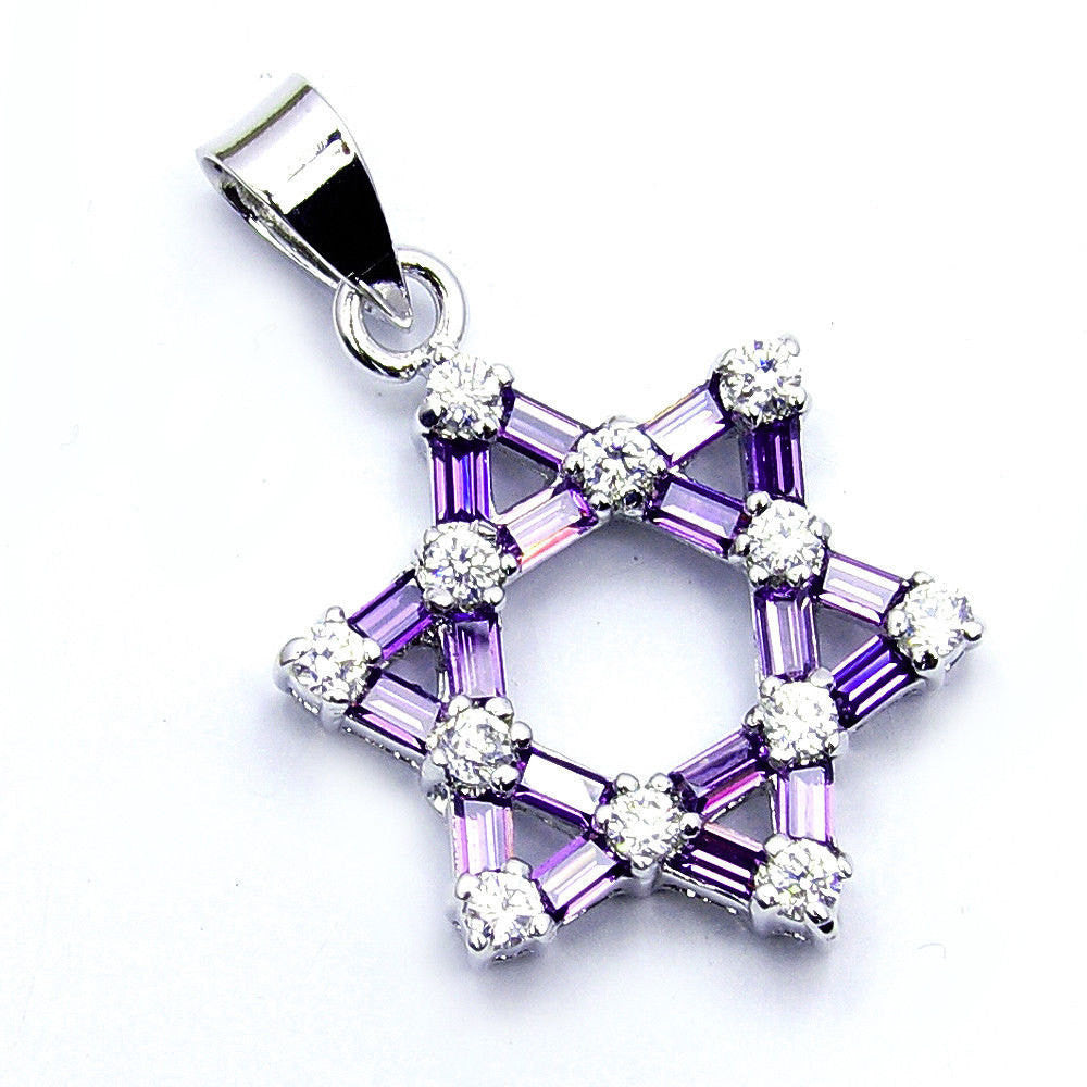 Jewish Star Of David Purple, White Cz & .925 Sterling Silver Pendant , W94 - The Silver Plaza
