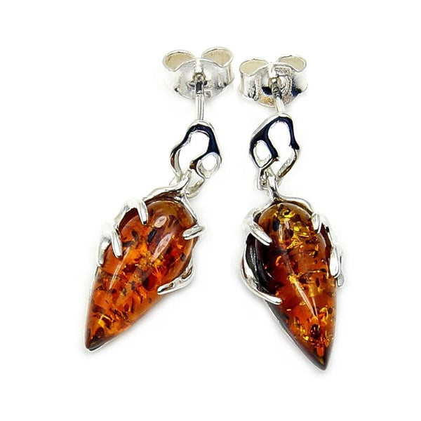 'Ancient Magic' Amber Sterling Silver Dangle Earrings - The Silver Plaza