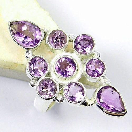 Amethyst & .925 Sterling Silver Ring Size 6.25 , T379 - The Silver Plaza
