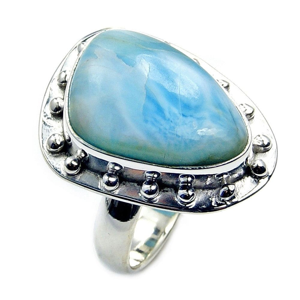Blue Gem Rare Dominican Larimar & .925 Sterling Silver Ring Size 5.5 , Aa297 - The Silver Plaza