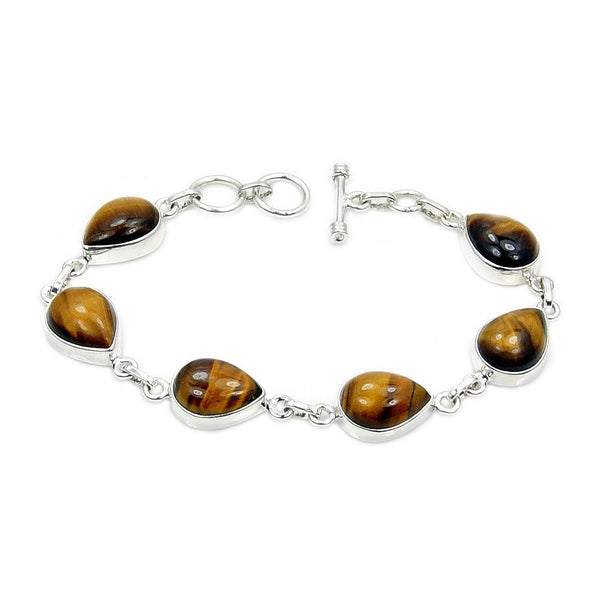 Tigers Eye & .925 Sterling Silver Link Bracelet , Ad397 - The Silver Plaza