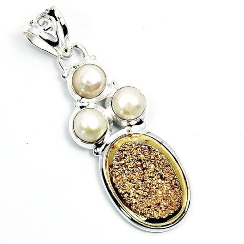 Golden Druzy, Pearl & .925 Sterling Silver Pendant , P641 - The Silver Plaza