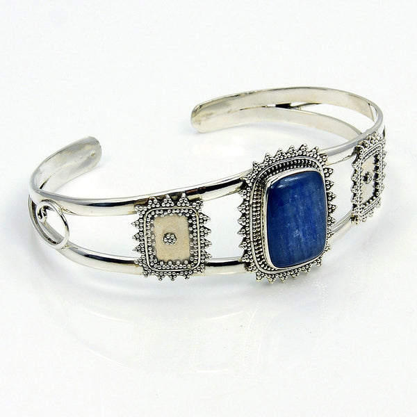 Kyanite & .925 Sterling Silver Cuff Bracelet , AD441 - The Silver Plaza