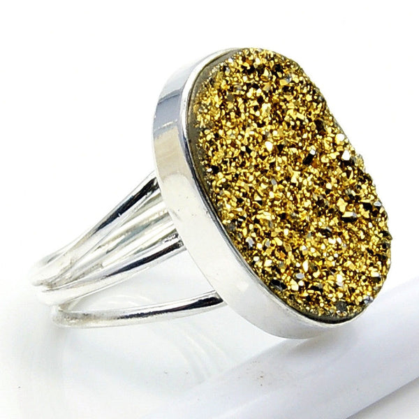 Golden Titanium Druzy & .925 Sterling Silver Ring Size 5.5 , W849 - The Silver Plaza