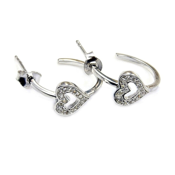 Love Forever Cz &.925 Sterling Silver Heart Stud Earrings Jewelry , Z915 - The Silver Plaza