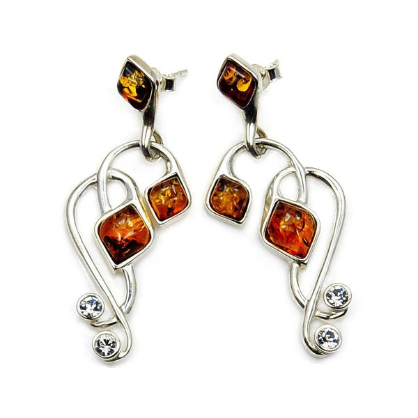 Large Natural Honey Baltic Amber, CZ & Sterling Silver Earrings - The Silver Plaza
