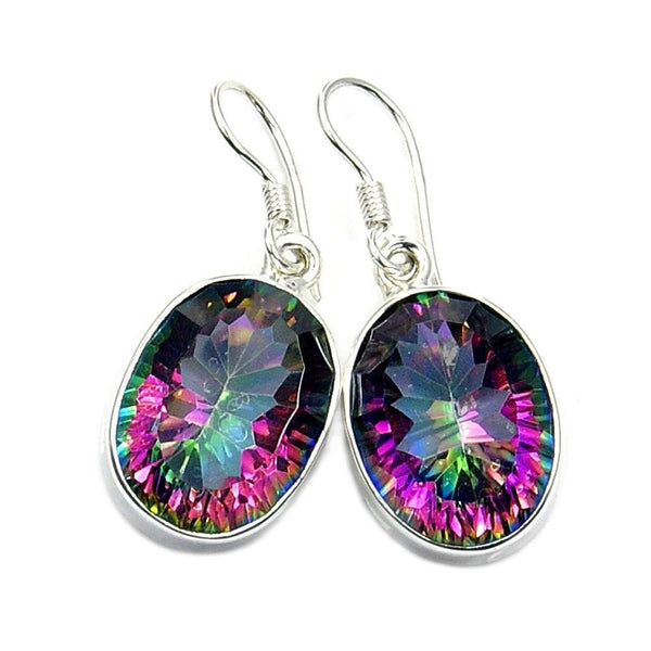 Dancing Lights Mystic Topaz & .925 Sterling Silver Dangle Earrings - The Silver Plaza