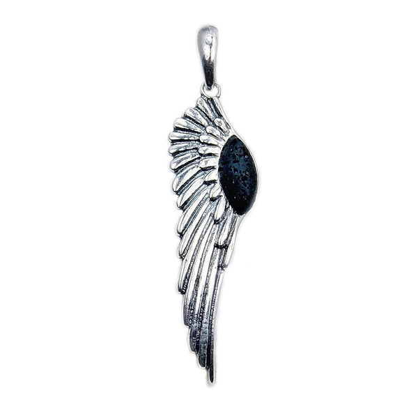 Essential Oil Diffuser Volcanic Lava Rock & Sterling Silver Angel Wing Pendant - The Silver Plaza