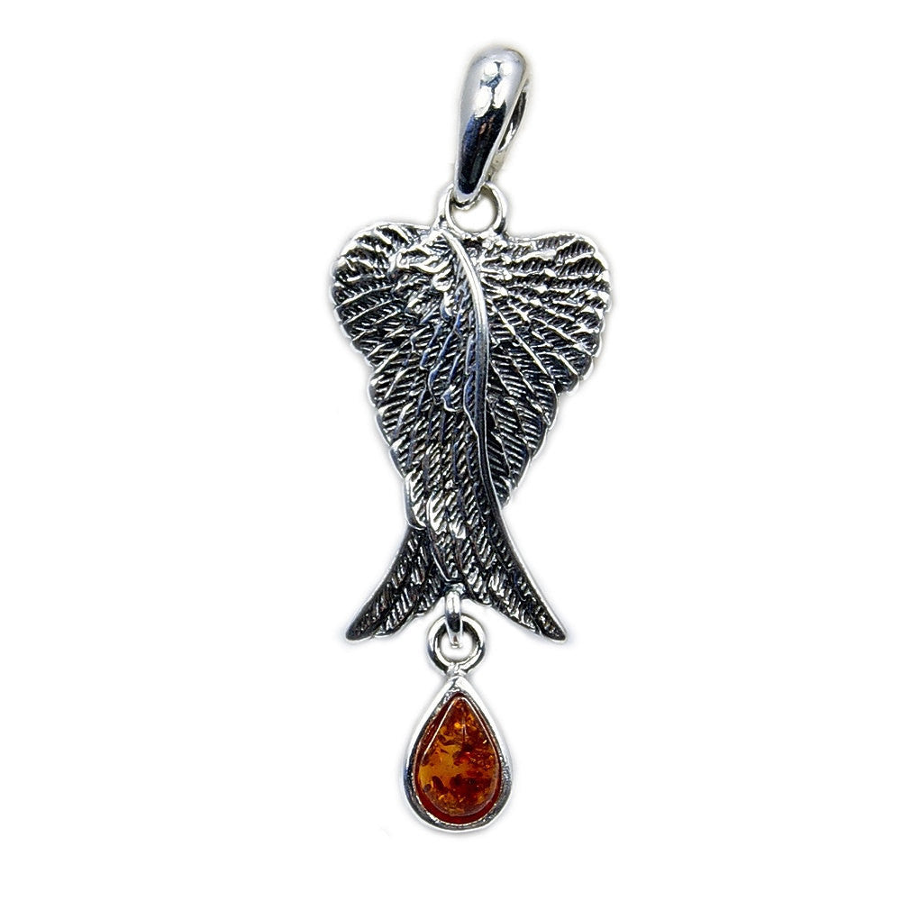 Baltic Amber & .925 Sterling Silver Angel Wings Pendant - The Silver Plaza