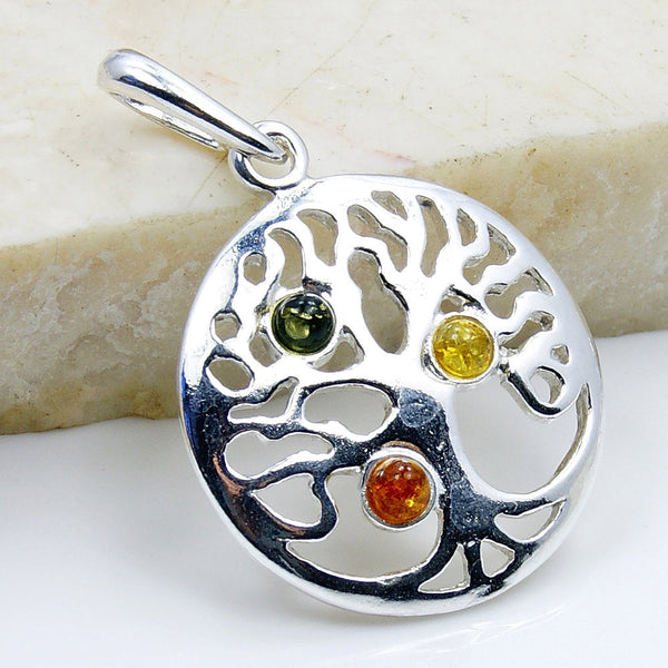 Tree of Life Natural Green, Honey Baltic Amber & .925 Sterling Silver Pendant , AD601 - The Silver Plaza